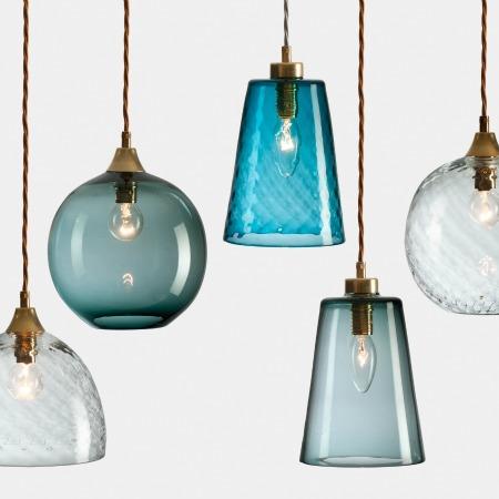 Rothschild bickers free blown lights a little bird - Colored glass pendant lights ...